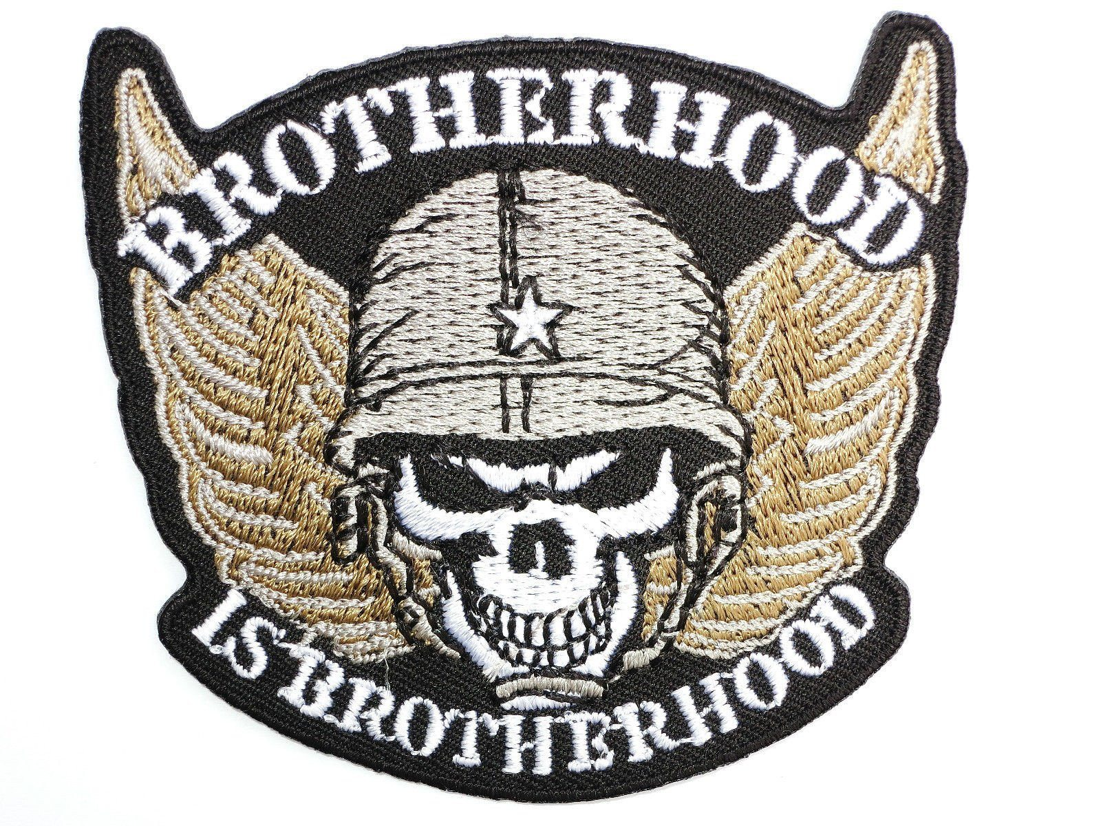 "BROTHERHOOD Skull Wings Motorcycle Embroidered Patch 2.9""/7.5cm - A Patch E Store"