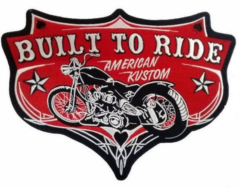"Built To Ride American Kustom Chopper Big Embroidered Back Patch 11.5""/29cm"