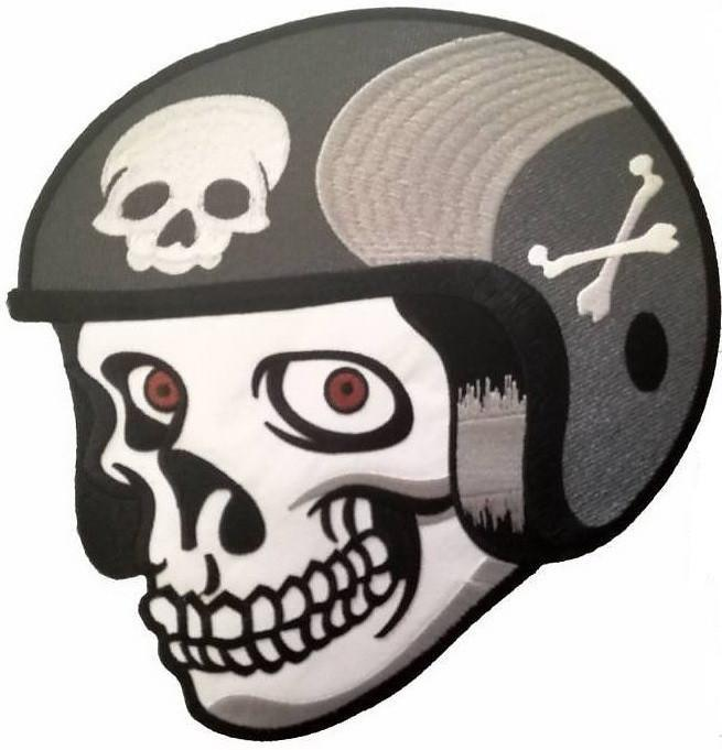"Cafe Racer Biker Skull & Bones Helmet Big Back Patch 10.5""/26cm - A Patch E Store"