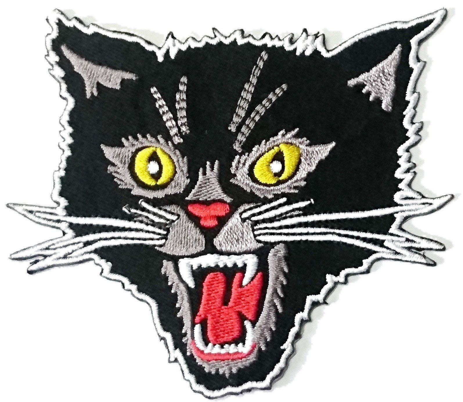 "Black Screaming Devil Cat Iron On Embroidered Patch 4""/10cm - A Patch E Store"