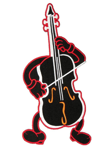 "Cello Man Rock N Roll Music Big Rockabilly Embroidered Back Patch 10""/26cm"