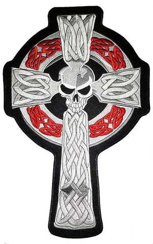 "Celtic Skull Cross Big XXL Jacket Back Patch 14.2""/36cm - A Patch E Store"
