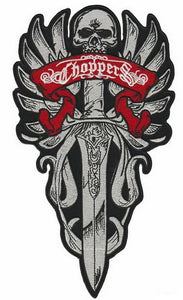 "CHOPPERS Skull Dagger Motorcycle Biker Rider Big Back Patch 11.8""/29cm - A Patch E Store"