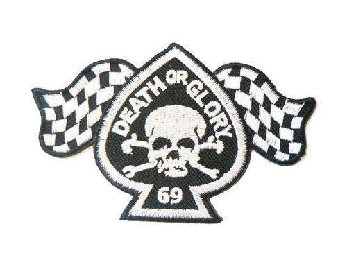 "DEATH OR GLORY 69 Skull Flag Biker Embroidered Patch 4"" - A Patch E Store"
