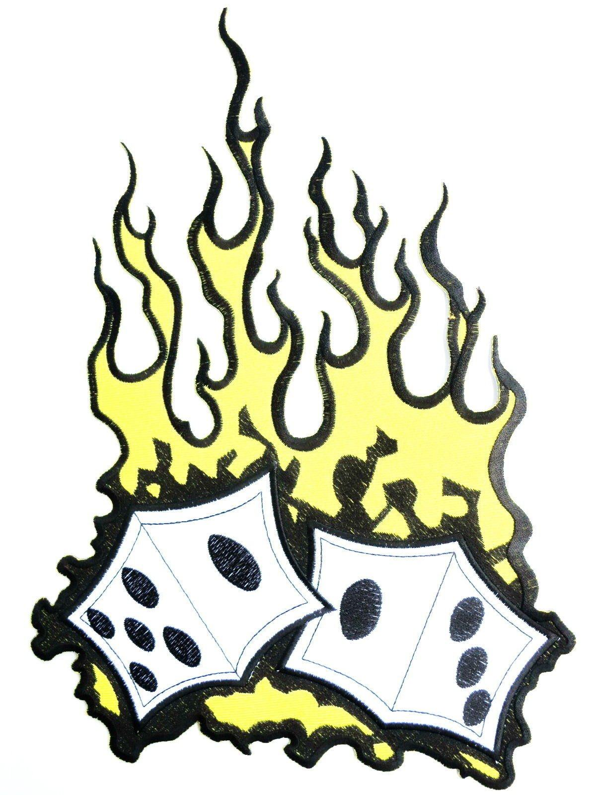 "FLAMING DICE Rockabilly Big Embroidered Back Patch 13""/33cm - A Patch E Store"
