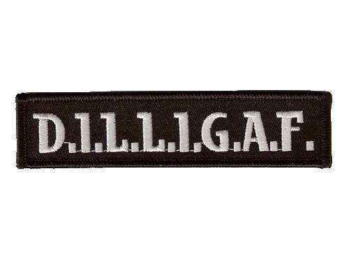 "DILLIGAF D.I.L.L.IG.A.F Biker Iron On Embroidered Patch 4.6""/11cm - A Patch E Store"