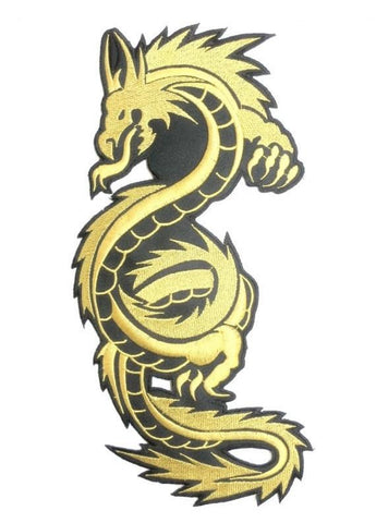 "Chinese Asian Golden Dragon Big XL Embroidered Back Patch 10""/25m - A Patch E Store"