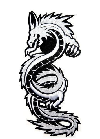 "Chinese Asian Silver Dragon Big XL Embroidered Back Patch 10""/25m - A Patch E Store"