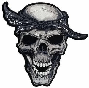 "Du Rag Rockabilly Biker Skull Big XL Embroidered Back Patch 12.2""/31cm - A Patch E Store"