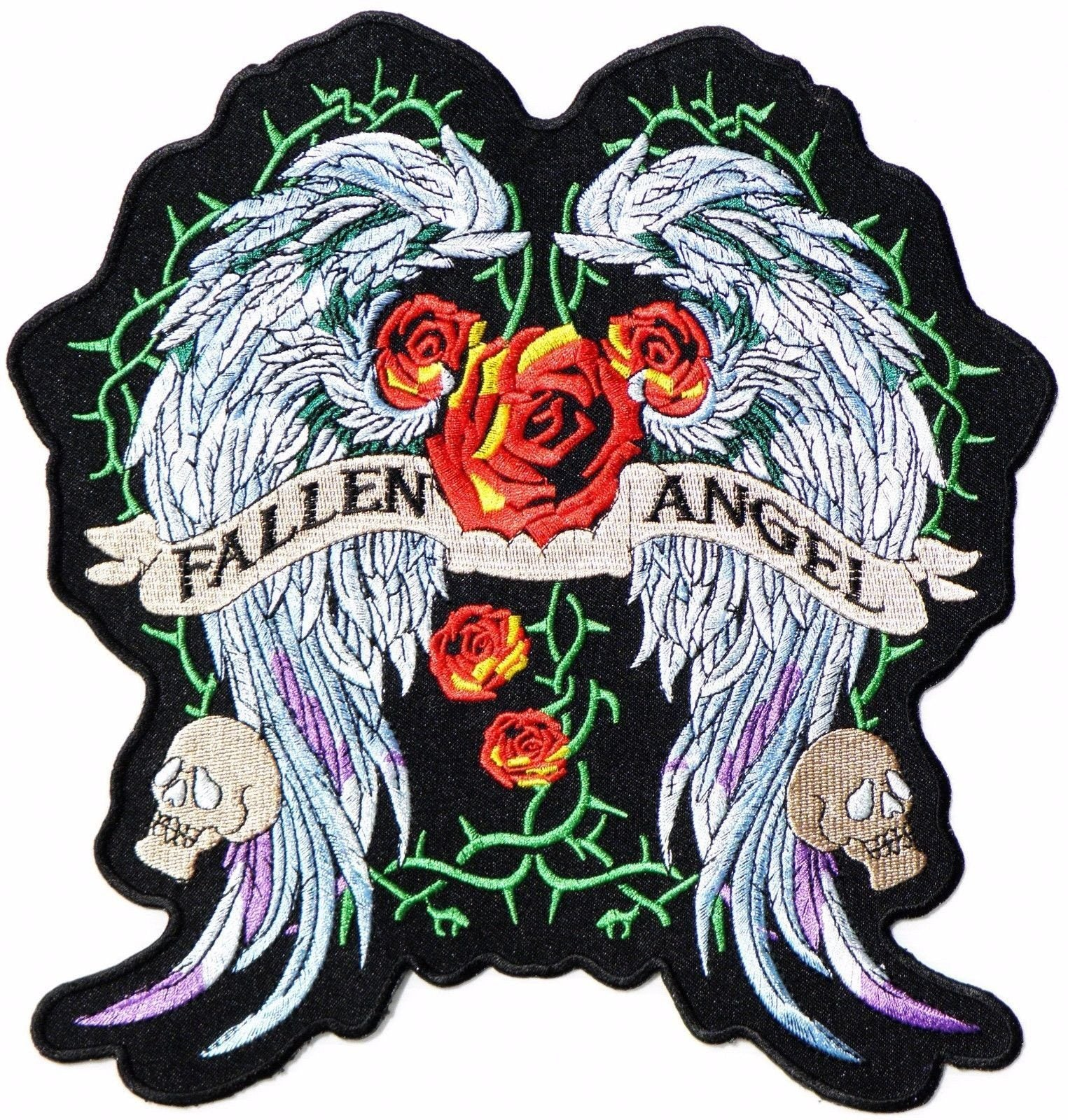 "Fallen Angel Lady Rider Wings Big Jacket Vest Back Patch 10""/25cm - A Patch E Store"