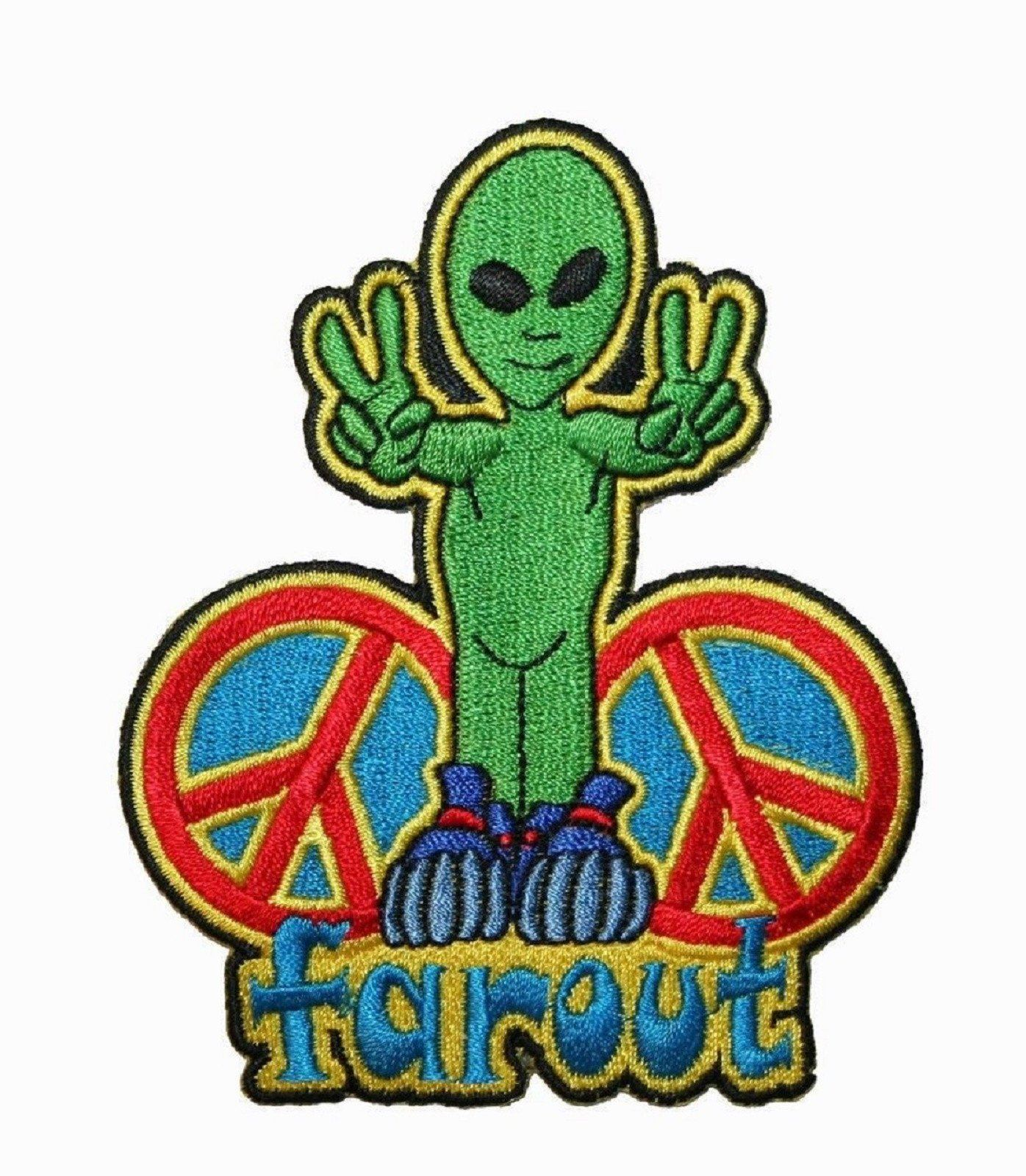 Far Out Peace Sign Alien NASA Space Sew On Iron On Embroidered Patch - A Patch E Store
