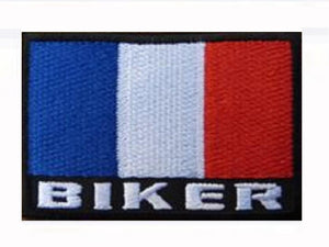 France Flag Proud French Biker Embroidered Iron On Patch - A Patch E Store