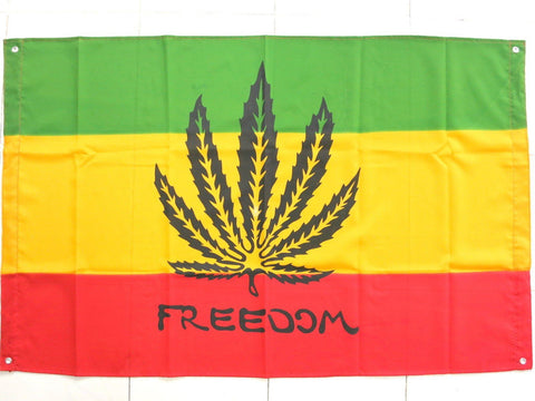 Rasta Freedom Ganja Weed Leaf Reggae Flag With Eyelits 46""