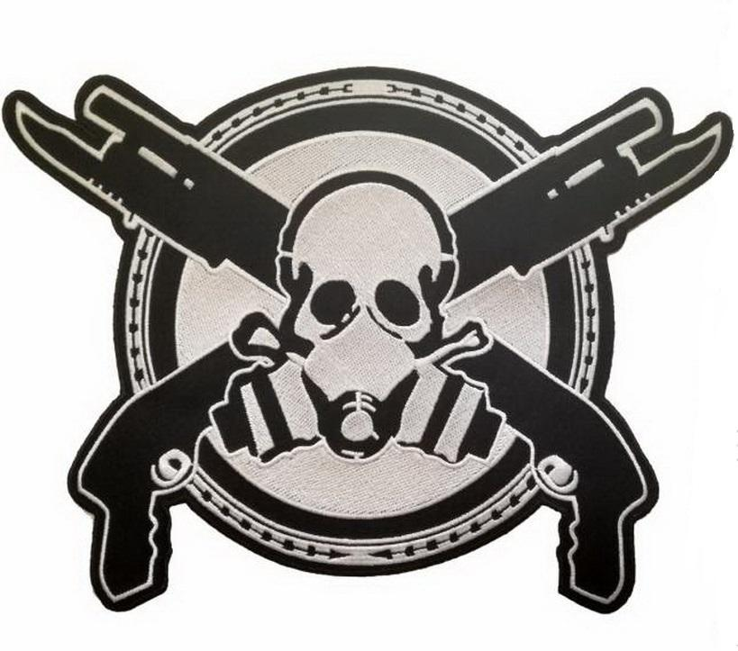 "Gas Mask Zombie Skull Guns Giant XL Back Patch 11.8""/29cm - A Patch E Store"