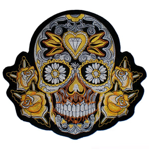 "Gold Sugar Rockabilly Skull Big Embroidered Back Patch 9.5""/24cm - A Patch E Store"