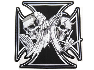 "Good & Evil Angel Devil Maltese Cross Embroidered Big Back Patch 10""/25cm - A Patch E Store"