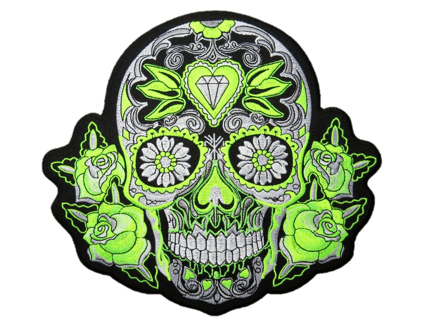 "Green Sugar Rockabilly Skull Big Embroidered Back Patch 9.5""/24cm - A Patch E Store"
