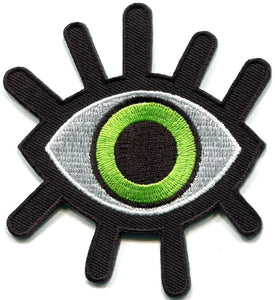 Evil All Seeing Green Eye Illuminati Iron On Embroidered Shirt Patch - A Patch E Store