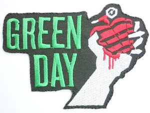 "GREEN DAY Heart Grenade Iron On Emroidered Patch 4""/10.5cm - A Patch E Store"