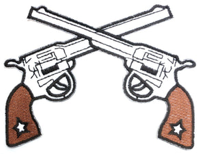 "Cross Six Guns Pistols Cowboy Iron On Embroidered Patch 4""/10cm - A Patch E Store"
