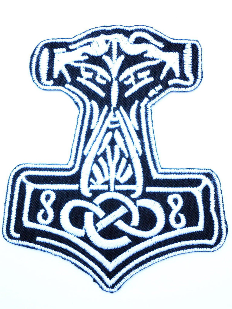 "Mjölnir Viking Thor Hammer Iron On Embroidered Patch 3.1""/8cm - A Patch E Store"