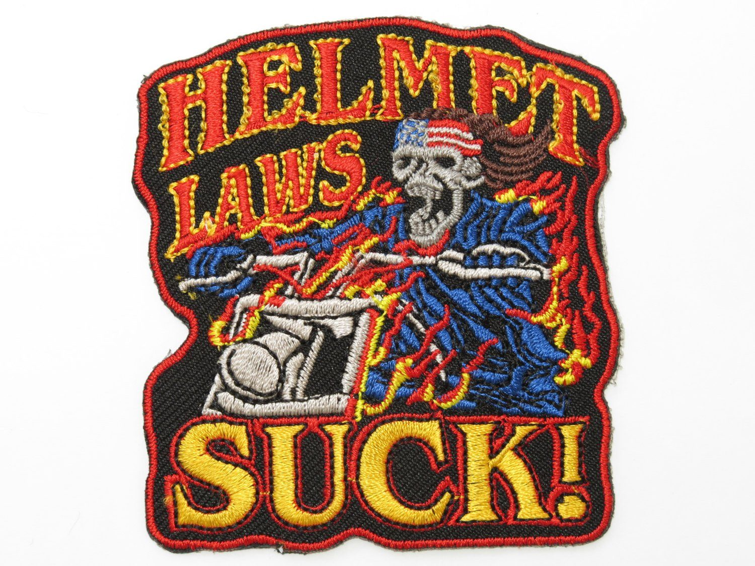 Helmet Laws Suck Biker Chopper Rider Iron On Embroidered Patch - A Patch E Store