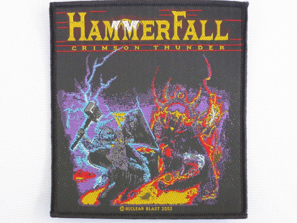 HAMMERFALL Crimson Thunder Woven Metal Patch - A Patch E Store