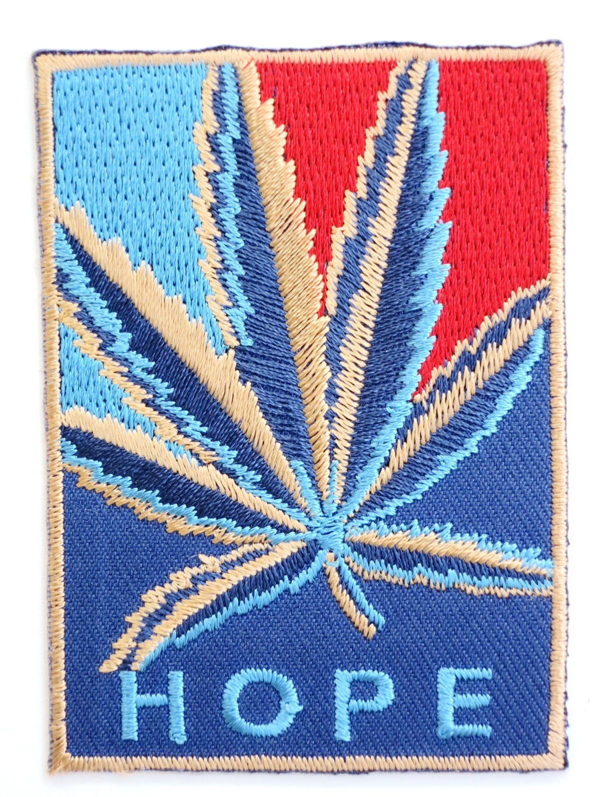"HOPE Cannabis Weed Leaf Iron On Embroidered Patch 2.9""/7.5cm - A Patch E Store"