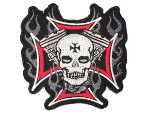 "Maltese Cross Flaming Skull Biker 1%er Iron On Patch 3""/7.8cm - A Patch E Store"
