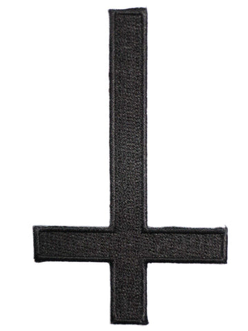 "Inverted Black Cross Gothic Iron On Embroidered Patch 3.9""/10cm - A Patch E Store"