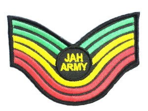 "JAH Army Rasta Sgt Iron On Sew On Embroidered Patch 3"" - A Patch E Store"