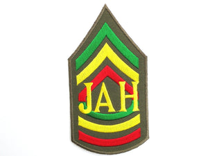"JAH Rasta Sgt Rastafari Iron On Embroidered Patch 4.6""/12cm - A Patch E Store"