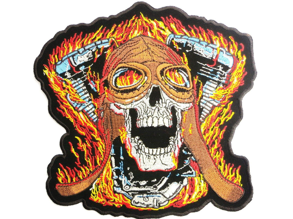 "Flaming Skull V Twin Biker Big Embroidered Back Patch 7.9""/20cm - A Patch E Store"