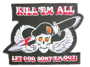 "KILL EM ALL Military Army Iron On Embroidred Patch 3.2"" - A Patch E Store"
