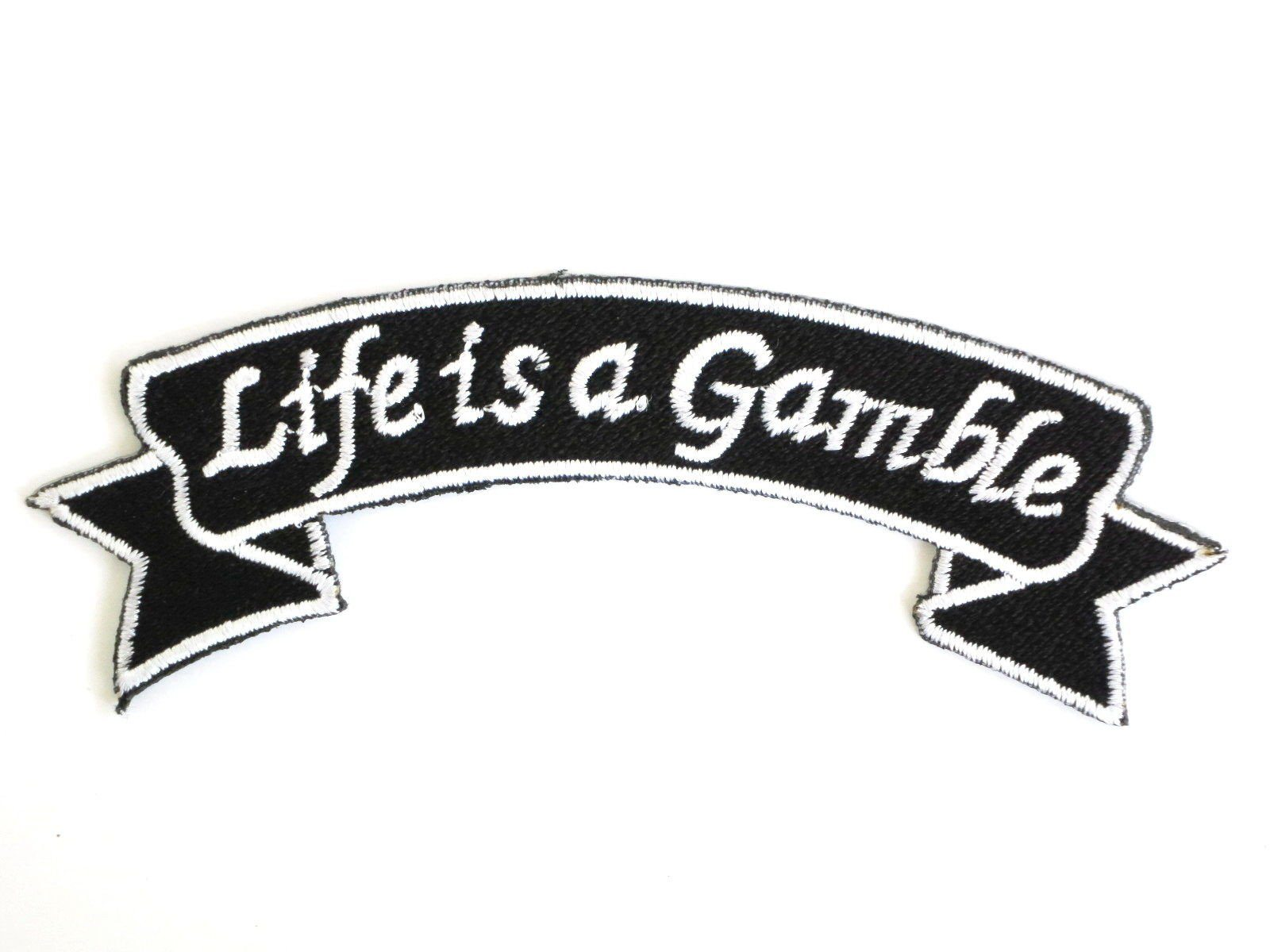 "LIFE IS A GAMBLE Poker Biker Iron On Embroidered Patch 4.1""/10cm - A Patch E Store"