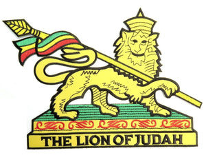"THE LION OF JUDAH Rasta Big Embroidered Back Patch 9.6""/24.5cm - A Patch E Store"