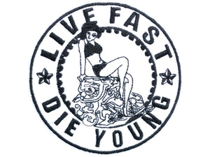 "LIVE FAST DIE YOUNG Rockabilly Pin Up Iron On Patch 3.1""/8.2cm - A Patch E Store"