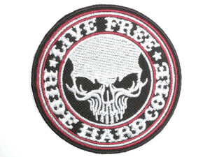 "LIVE FREE RIDE HARDCORE Biker Skull Iron On Patch 3""/7.5cm - A Patch E Store"