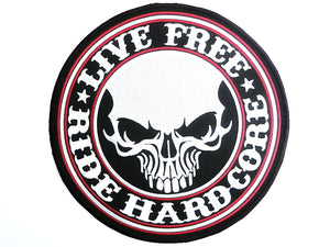 "LIVE FREE RIDE HARDCORE Biker Skull Big Back Patch 9.7""/24cm - A Patch E Store"