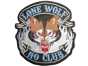"LONE WOLF NO CLUB Biker Outlaw Rider Big Back Patch 9.7""/24cm - A Patch E Store"