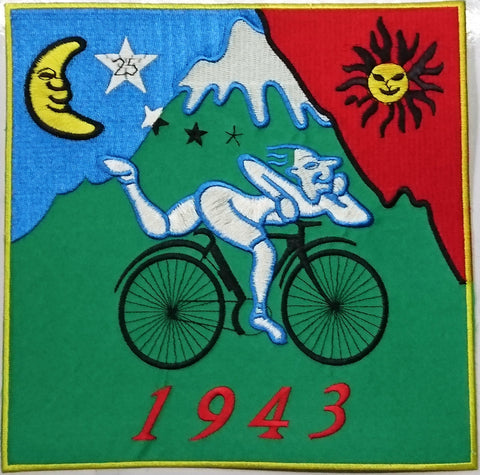 "Albert Hofmann LSD 1943 Bicycle Day XL Big Embroidered Back Patch 7.8""/20cm"