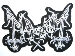 "MAYHEM Iron On Sew On Embroidered Black Metal Patch 3.9""/10cm - A Patch E Store"