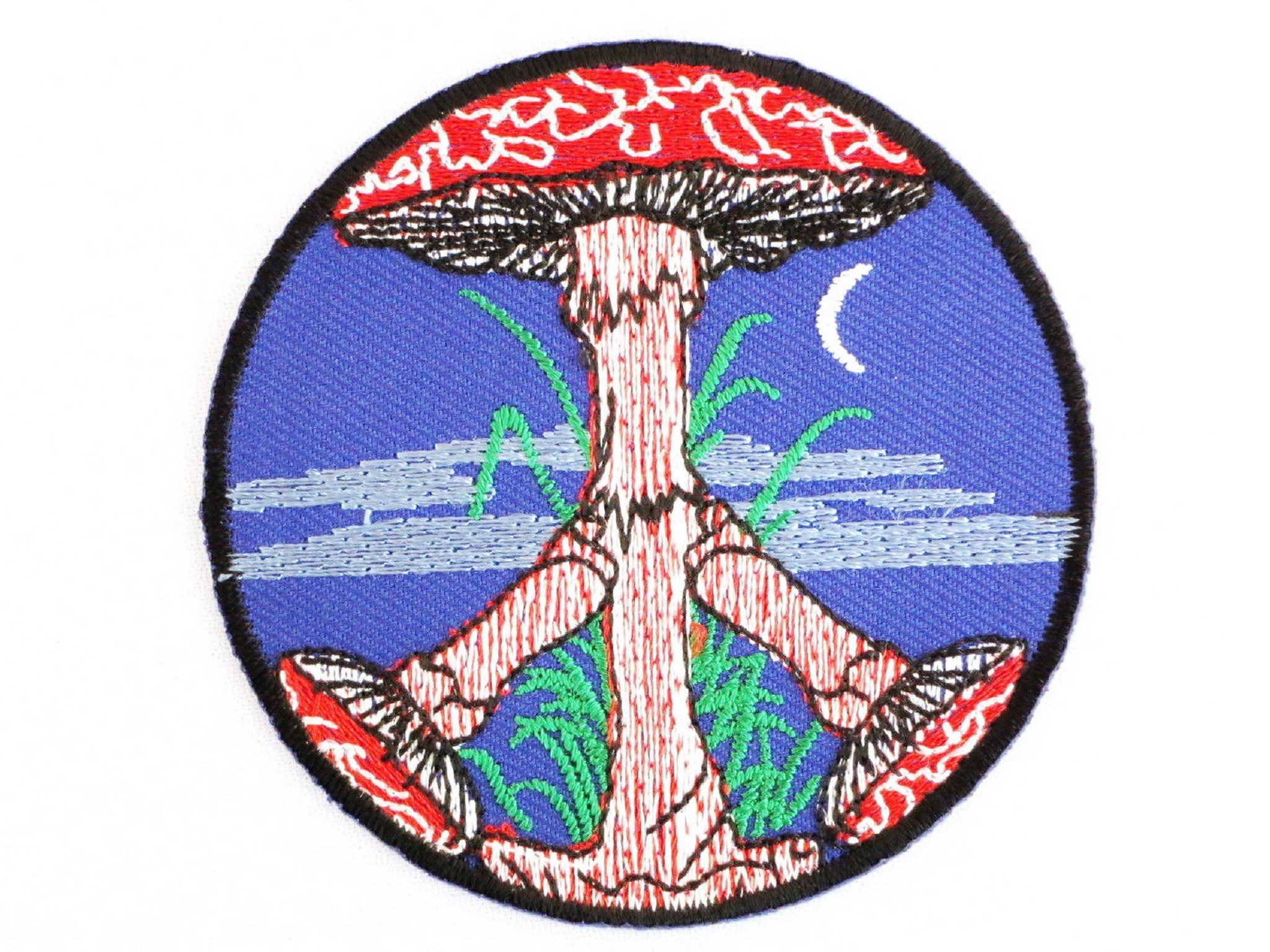 "Magic Mushroom Peace Sign Psychedelic Iron On Embroidered Patch 2.9""/7.5cm - A Patch E Store"