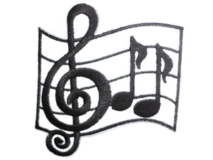 "Music Notes Rockabilly Iron On Embroidered Patch 3""/8cm - A Patch E Store"