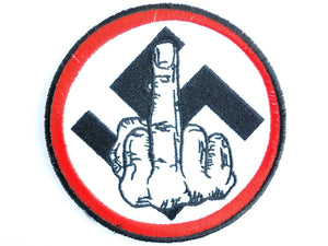 Finger Nazi Punks Fu.. Off Sew On Embroidered Patch - A Patch E Store