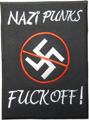 "Anti Racism Nazi Punks F. Off Embroidered Big Back Patch 9""/23cm"
