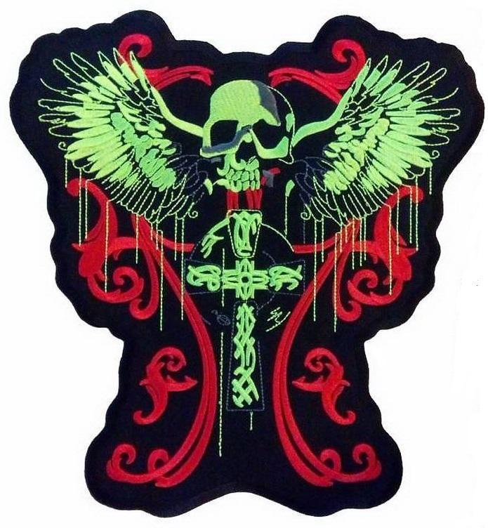 "Celtic Cross Neon Skull Wings Biker Big Embroidered Back Patch 11""/28cm - A Patch E Store"