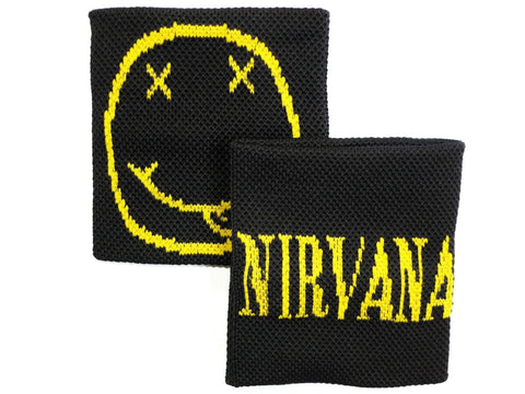 2x NIRVANA Smiley Double Sided Festival Gig Sweatbands Wrist Bands - A Patch E Store