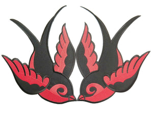 "2x SWALLOWS Rockabilly Biker Big Red Back Patch 11.2""/28.5cm - A Patch E Store"