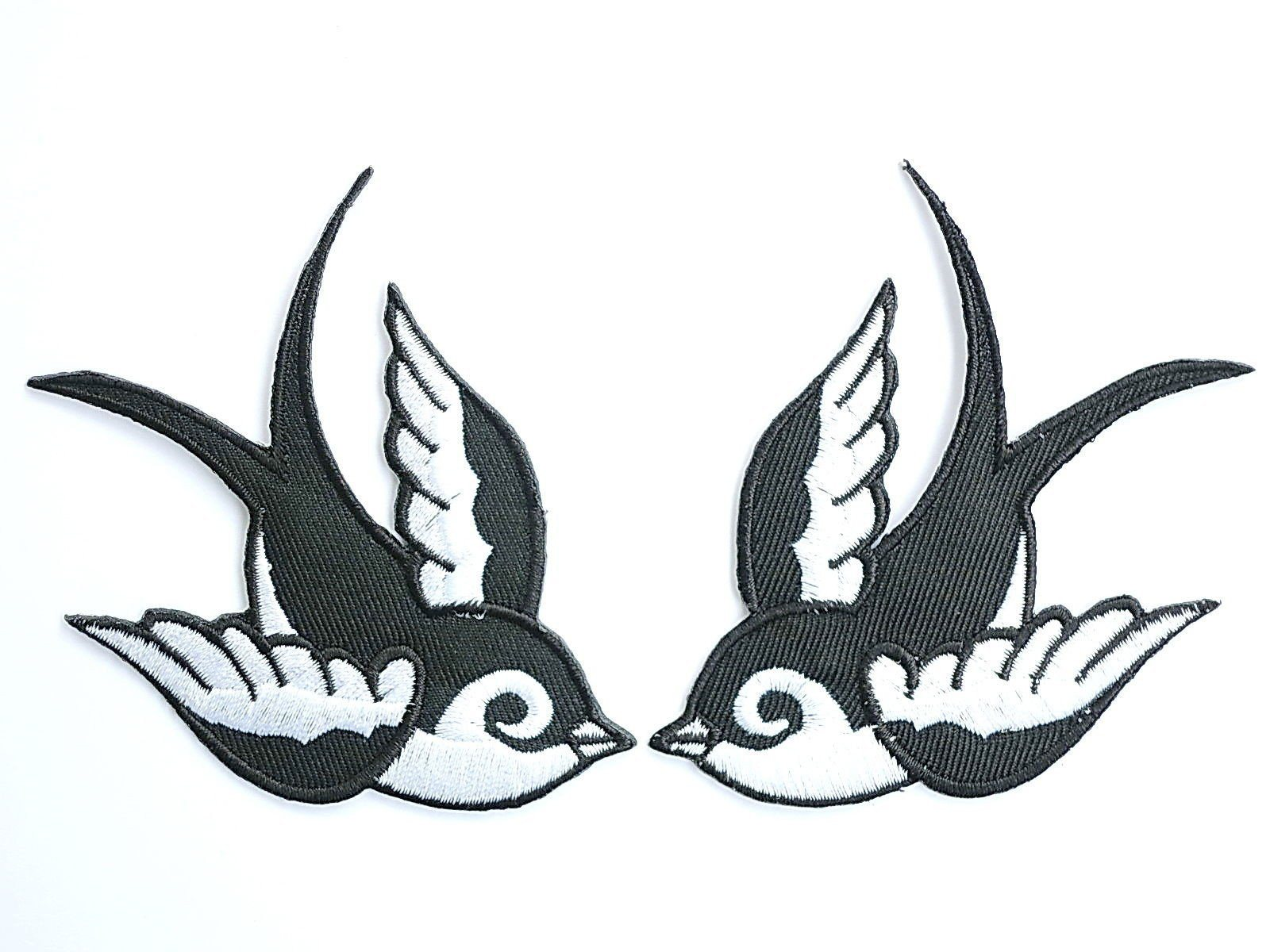 "2x SWALLOWS Rockabilly Biker 2 Tone Iron On Patch 3.9""/8.7cm - A Patch E Store"